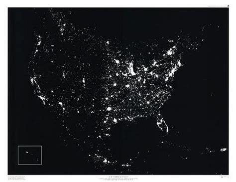 nighttime map of us greatest influence on the u s a new york city or los