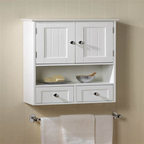 Cabinet With Drawers And Doors New White Wood Nantucket Wall Cabinet Storage Doors Drawers And Shelf Ebay