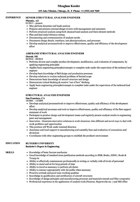 Resume Analysis by Structural Analysis Engineer Resume Sles Velvet
