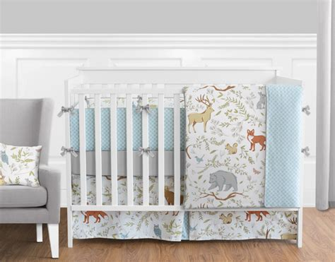 blue toile crib bedding woodland toile crib bedding collection