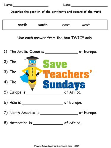continents  oceans ks lesson plan map  worksheet