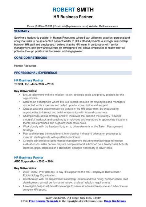 hr business partner resume samples qwikresume
