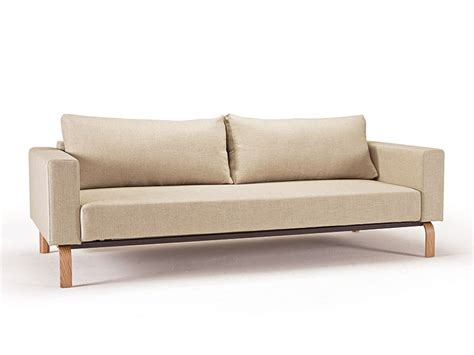 Natural Khaki Fabric Sofa Bed With Durable Oak Legs Newark