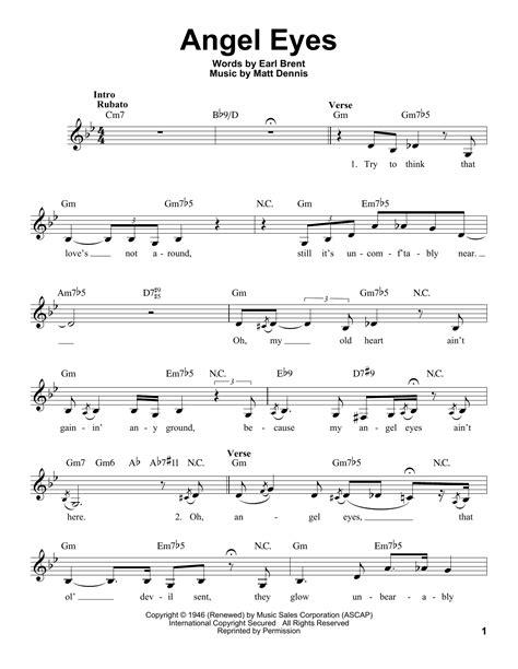 theme song in angel eyes angel eyes sheet music by matt dennis voice 182967