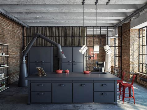Black Canisters For Kitchen industrial loft