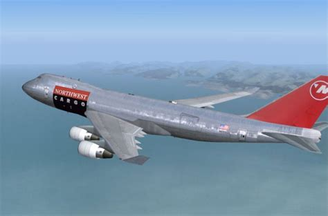 northwest airlines boeing 747 400f for fs2004