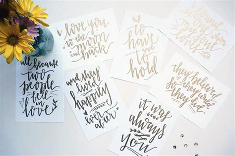 Wedding Quotes Calligraphy by Custom Gold Handwritten Wedding Table Signs With