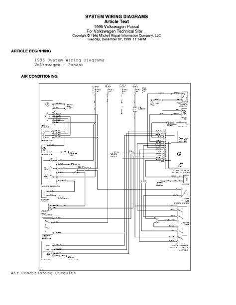 vw passat 1995 wiring diagram service manual