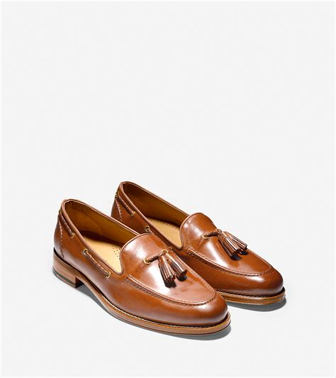 cole haan tassel loafers lyst cole haan brady belgian tassel loafer in brown for