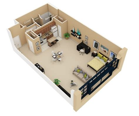 one bedroom efficiency apartment plans studio apartment floor plans