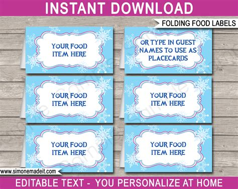 frozen tent cards templates frozen food labels place cards winter theme