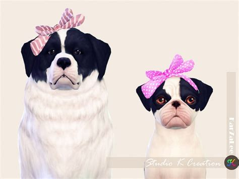 bow set at studio k creation 187 sims 4 updates studio k creation head bow for dog sims 4 downloads