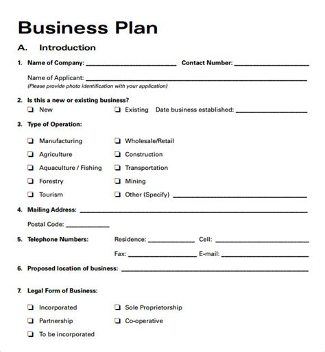 sample business plan free business plan template outline