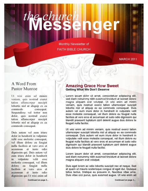 Colors Church Newsletter Template Page 1 Newsletter Pinterest Newsletter Templates Faith Christian Newsletter Templates