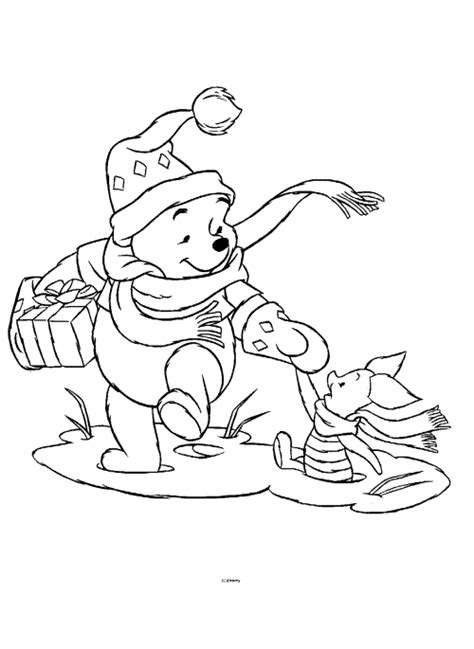 free coloring pages winnie the pooh christmas coloring pages