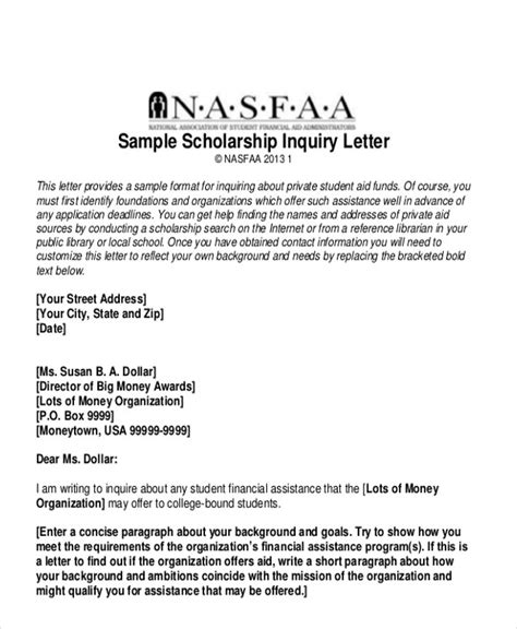 Scholarship Enquiry Letter letters in pdf