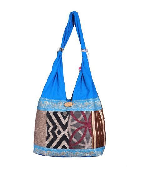 Blue Patchwork - buy domestiq handicraft sky blue patchwork jhola bag at