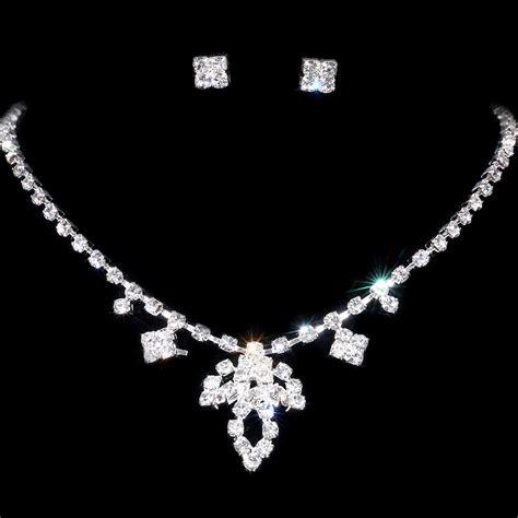Rhinestone Necklace Earring new unique design wedding bridal jewelry silver