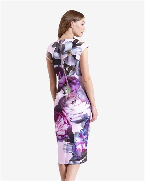 Dress Midi Flower 3 lyst ted baker sunlit floral midi dress in pink