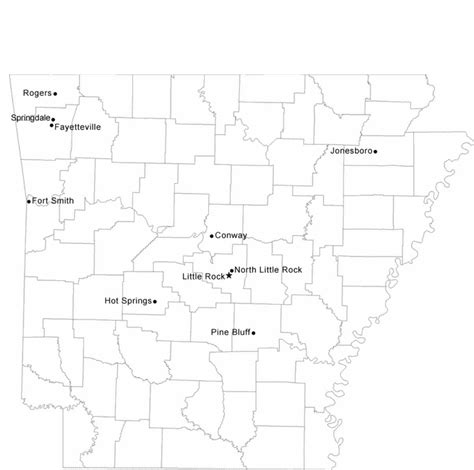 Arkansas County Outline Map by Map Of Arkansas Cities With City Names Free