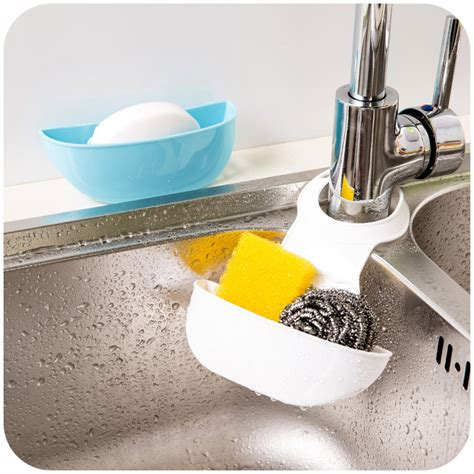 sponge holder kitchen sink 1pcs adjustable hang button guadai kitchen sink faucet drain and sponge storage rack shelf in