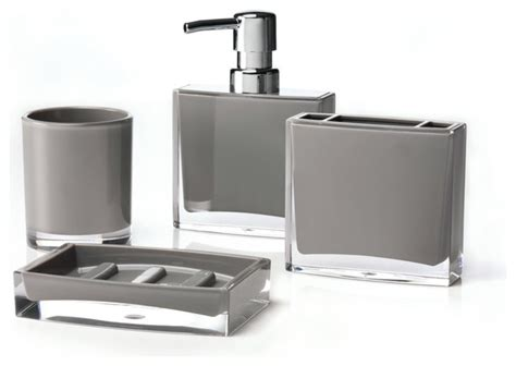 Iced 4 Piece Bathroom Accessory Set Gray Bathroom Gray Bathroom Accessories