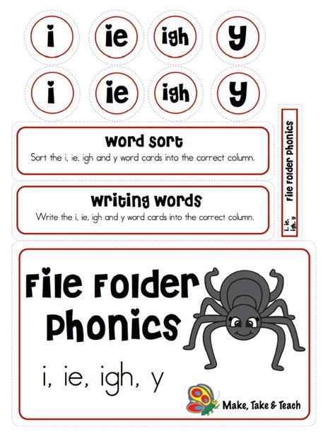 ie pattern words file folder phonics i ie igh y make take teach