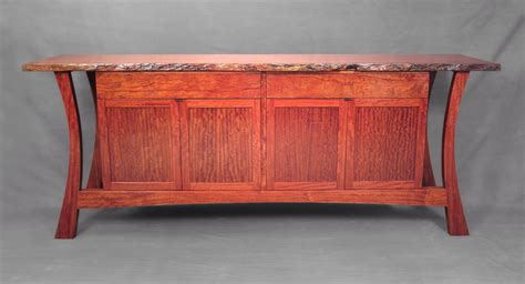 Asian Credenza Hand Crafted Live Edge Credenza In Bubinga By John Landis