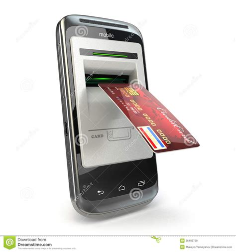 mobile phone bank mobile banking mobile phone as atm and credit card stock