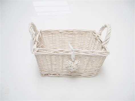 Wicker Basket Bathroom Storage Rectangle White Shabby Chic Wicker Kitchen Crafts Bathroom Storage Basket Ebay