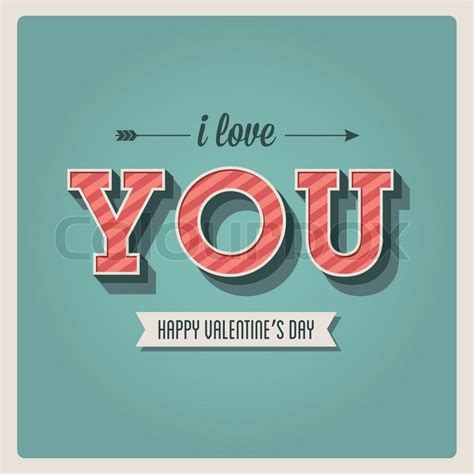 i love vintage happy valentines day card i love you font type 3