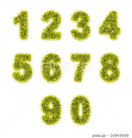 yellowing on white tinsel yellow tinsel digits on whiteのイラスト素材 10945699 pixta