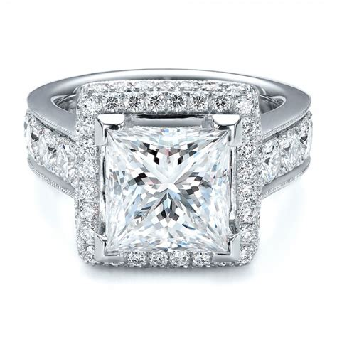 custom princess cut and halo engagement ring 100124