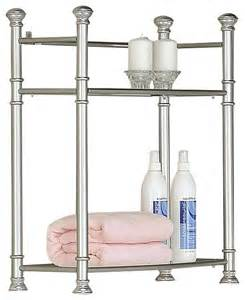 Metal Bathroom Wall Shelves Satin Nickel Metal 26 Quot High Wall Mount Shelf Tempered Glass Traditional Bathroom Cabinets And