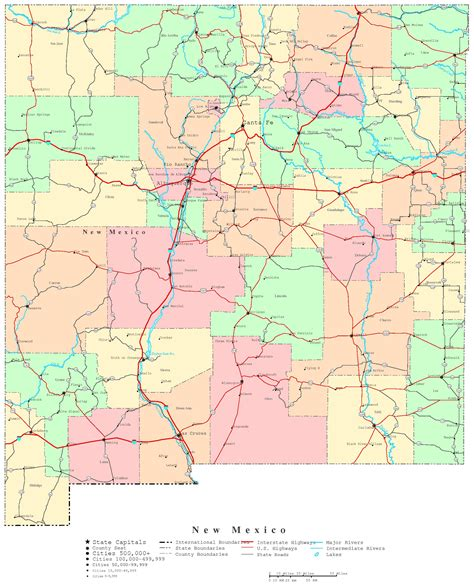 map of texas and new mexico cities new mexico printable map