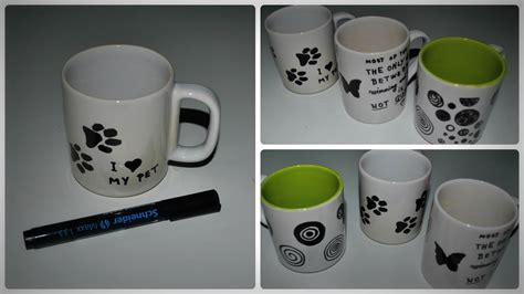 how to decorate a mug at home diy how to decorate a mug with permanent marker youtube