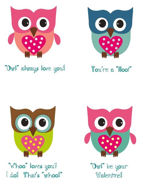 Owl Valentines Day Card Template by Owl Cards For Valentines Day S Day