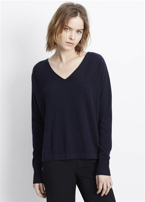 Sleeve Pullover lyst vince sleeve v neck pullover sweater