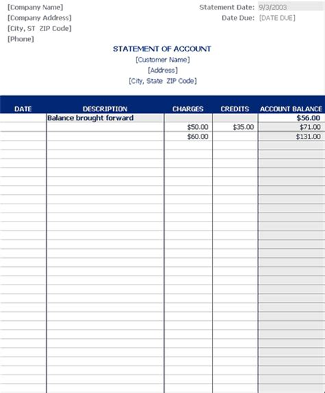 statement account template statement of account statements templates