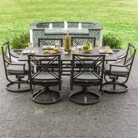 7 patio dining set with swivel chair hanover