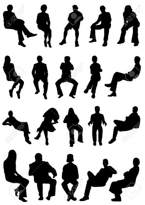 silhouette persone sedute collezione di seduta vettoriale di persone silhouettes