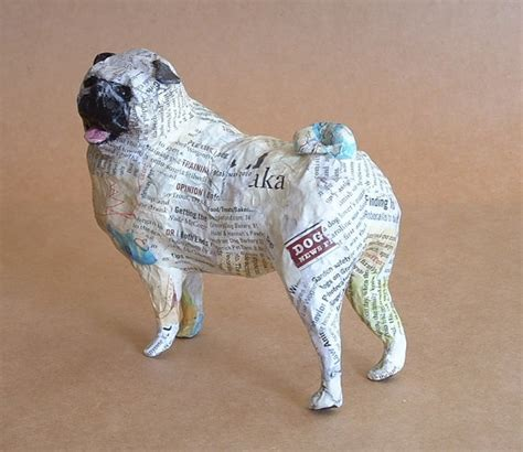 paper a puppy pug whimsical paper mache sculpture by paperport on etsy related arts and