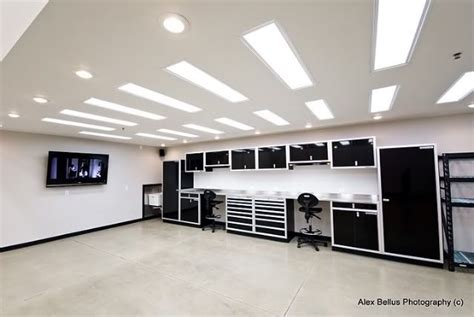 Garage Lighting Black Cabinets Ultimate Garage Workshops
