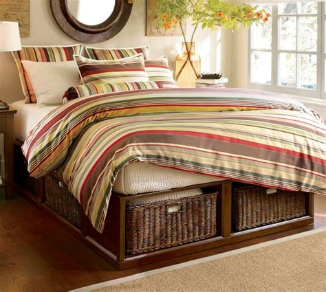 pottery barn stratton bed stratton storage platform bed with baskets pottery barn