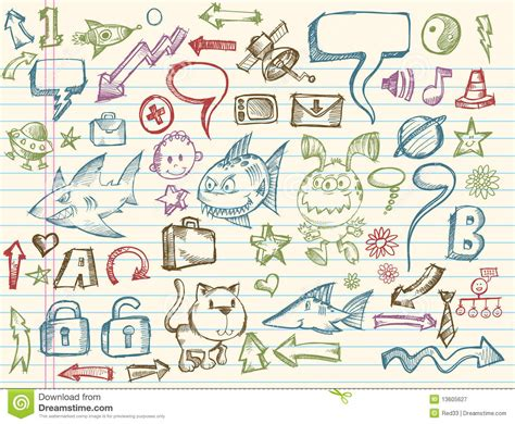 doodle vectors mega doodle sketch vector collection royalty free stock