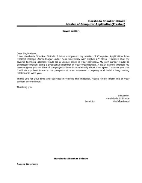 resume cover letter format freshers govt jobcover