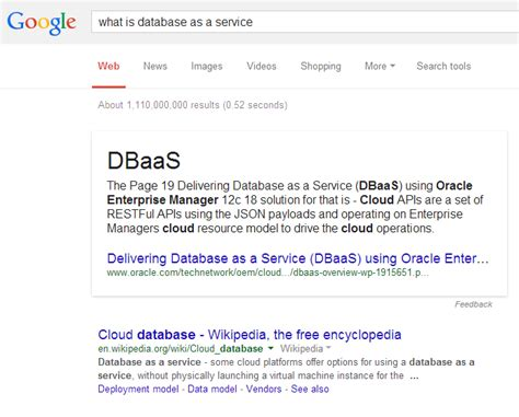 how the defines database as a service in 2014