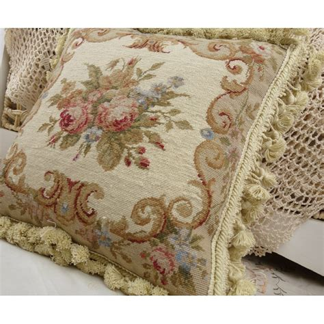 chic shabby beige floral handmade decorative needlepoint