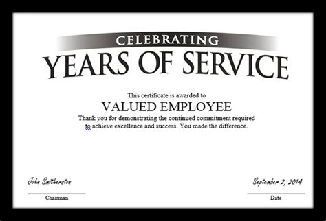 free templates for service awards employee service award certificate template templates