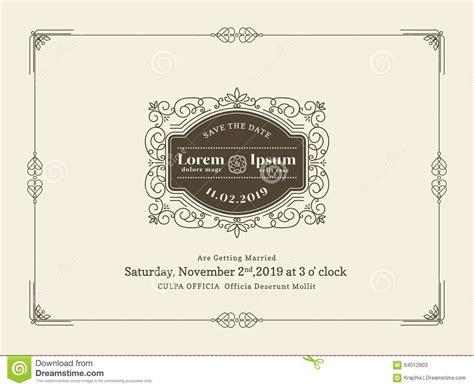Vintage Wedding Invitation Card Border And Frame Template Stock Vector Image 64012803 Wedding Invitation Card Vintage Template